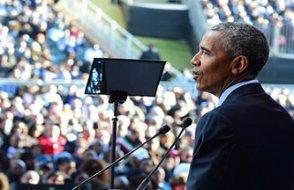 Obama, Biden için megafonla oy istedi