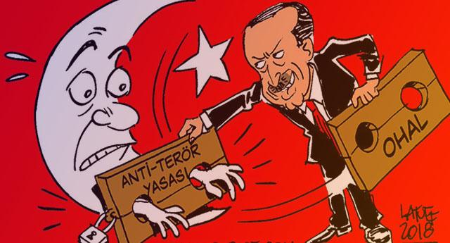 Latuff'tan Erdoğan karikatürü: OHAL'e elveda, anti-terör yasasına merhaba!