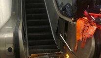 Metroda taraftarları taşıyan yürüyen merdiven böyle çöktü