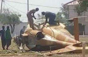 Helikopter, gösteri alanına düştü  İşte helikopterin düşme anı