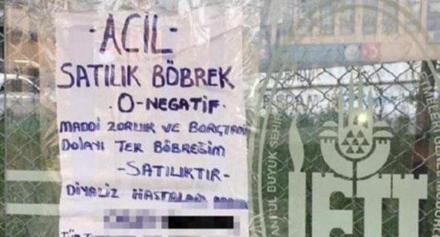 İşte krizin fotoğrafı! Otobüs duraklarında 'satılık böbrek' ilanı