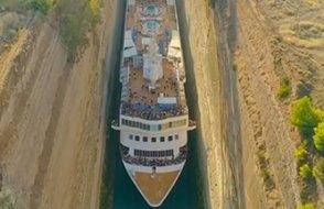 Tarihi kanaldan geçen  Cruise gemisi nefesleri kesti !