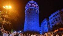 Diyabetliler için Galata Kulesi mavi renge büründü