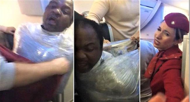Kamerunlu yolcuyu streç filme sardılar