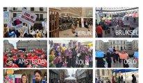 Avrupa'nın 35 şehrinde Türkiye'deki kadınların sesi oldular
