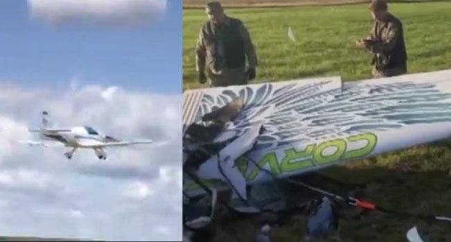 Akrobasi uçağı herkesin gözü önünde  yere çakıldı