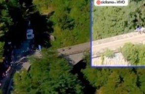 Ünlü bisikletçi 30 metreden aşağı uçtu!