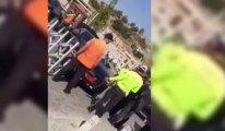 Güvenlik görevlisini eziyordu!