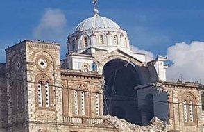 Yunanistan'da da binalar yıkıldı