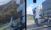Eşini yaralayan kamyonun kapısında 32 kilometre boyunca asılı kaldı