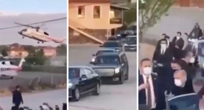 Erdoğan köydeki iftara iki helikopter ve onlarca zırhlı araçla gitti
