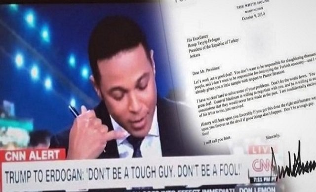 CNN'de sunucu o mektubu okurken...