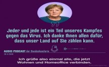 Merkel ses kaydıyla seslendi: Evlerinizde kaldınız, teşekkür ederim